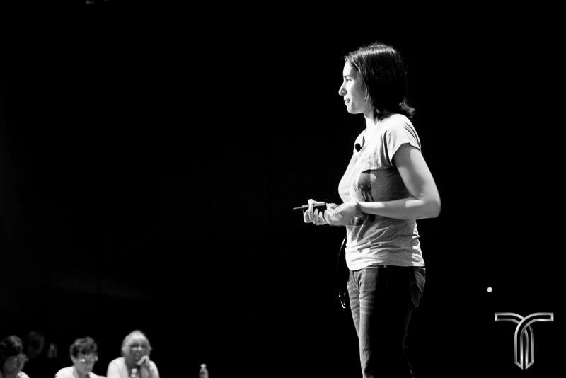Carolina on stage at Titanium black and white