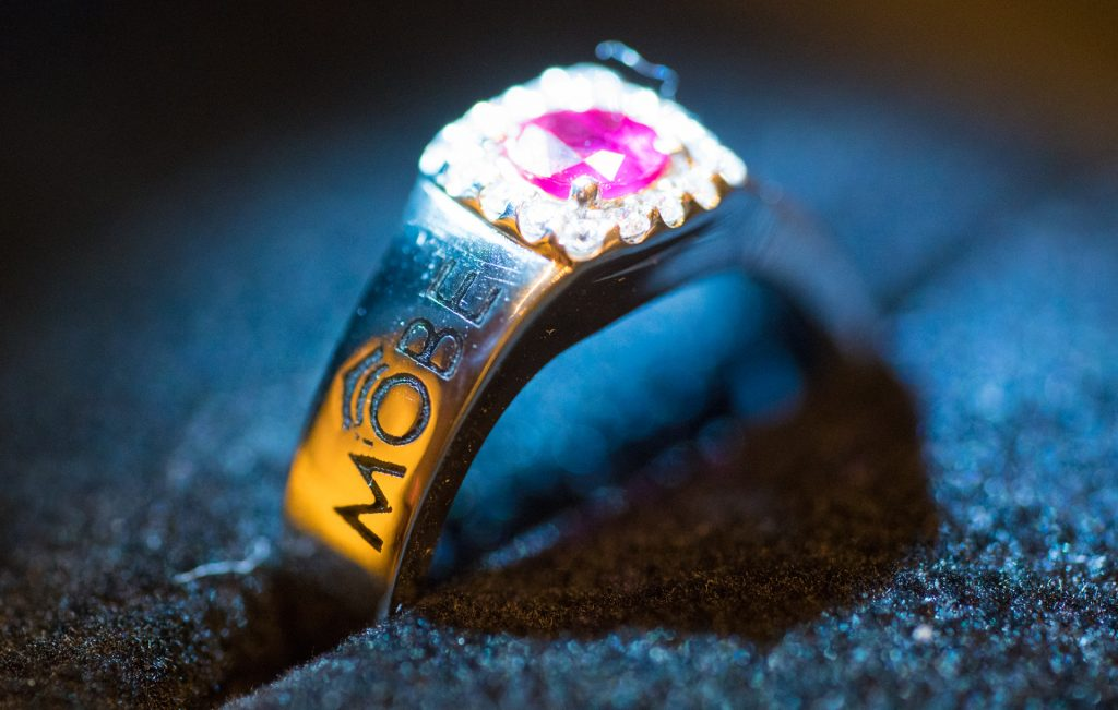 mobe diamond ruby ring
